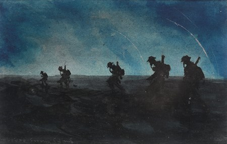 Soldiers with Gasmasks Advancing on the Western Front at Night