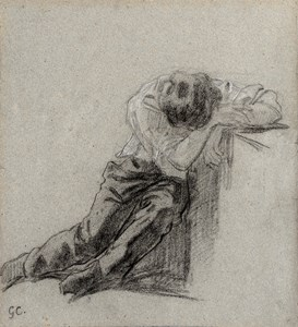 Study of a Seated Man Asleep Against a Table