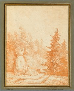 Wooded Landscape with a Washerwoman at a Fountain