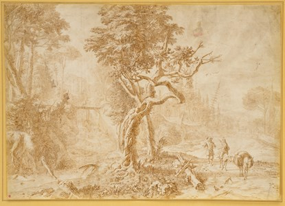 Italianate Landscape with Travellers and a Donkey