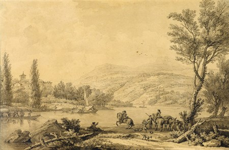 River Landscape with Horsemen by a Ford