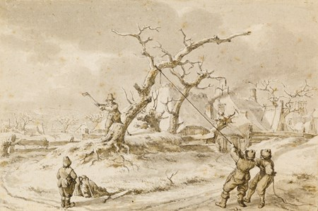 Winter Landscape with Woodcutters Felling a Tree