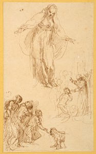 A Sheet of Figure Studies with the Virgin or a Female Saint, A Man Kneeling Before a Saint, and Several Figures Before a Lion