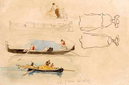 A Sheet of Studies of Gondolas and Figures