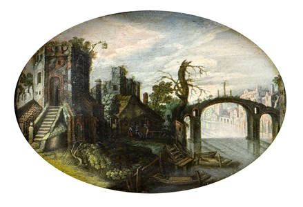 River Landscape with a Tower and Bridge