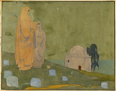 Two Women in a Cemetery in Rabat, Morocco