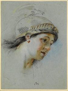 The Head of a Female Figure Wearing a Helmet