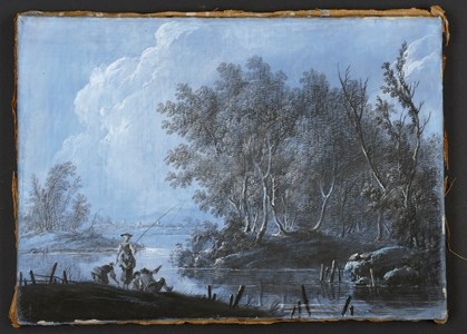 River Landscape with Figures Fishing
