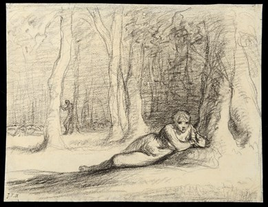 A Reclining Nymph in a Wooded Landscape