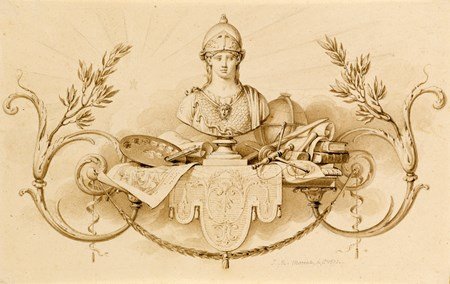 A Design for a Chapter Heading, with a Bust of Athena and Emblems of the Arts and Sciences