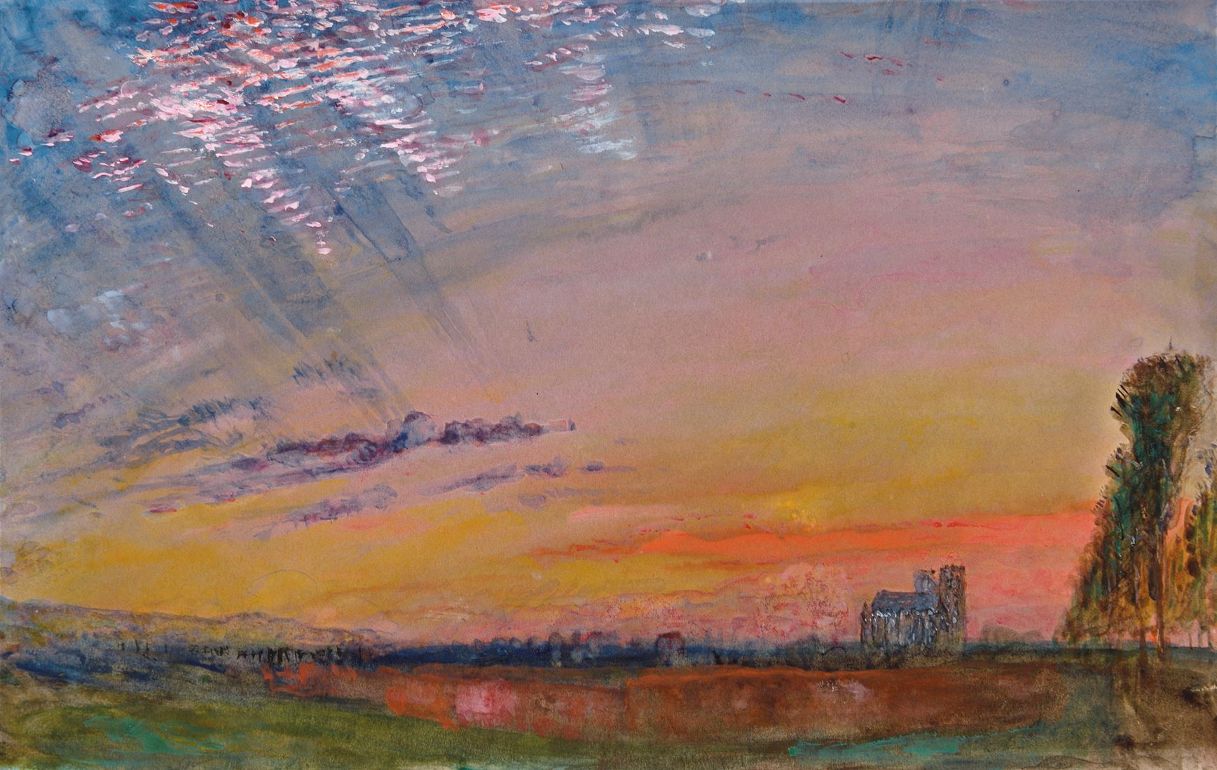 John RUSKIN | Sunset with a Distant View of Abbeville