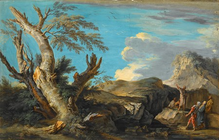 A Mountainous Landscape with Figures, after Salvator Rosa