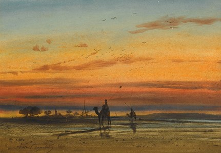 Sunset in Egypt, with Two Bedouin on Camels