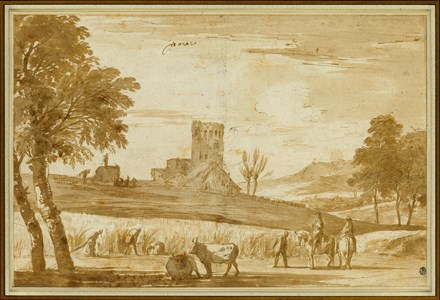 Landscape with Harvesters, a Castle Beyond