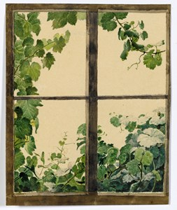 A View Through a Window, with Green Vine Leaves