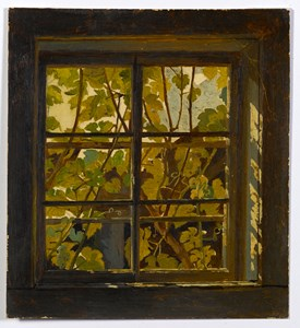 A View Through a Window, with Vine Leaves