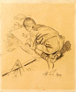 A Young Boy Drawing
