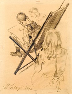 Three Children Drawing