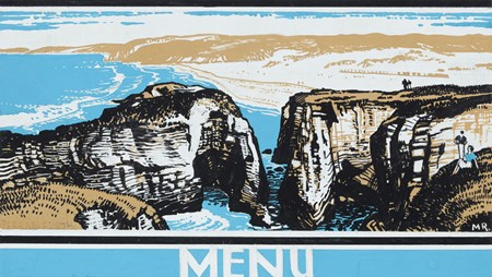 The Cliffs at Perranporth, Cornwall: Design for a Great Western Railway menu card