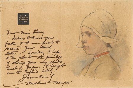 An Illustrated Letter, with the Head of a Young Breton Girl