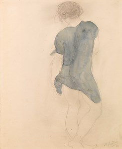 Study of a Standing Draped Woman, Seen from Behind