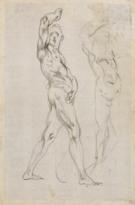 Two Studies of a Standing Male Nude, One Arm Raised