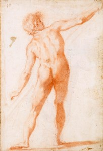 Recto: Study of a Male Nude, Seen from Behind [recto]; Study of a Draped Figure, Striding to the Left [verso]
