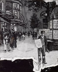 A Parisian Boulevard at Night, with a Newspaper Vendor