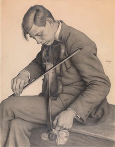 A Violinist Tuning his Instrument