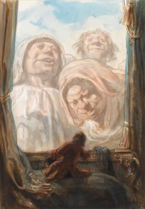 A Man Looking Through a Window at Three Giants