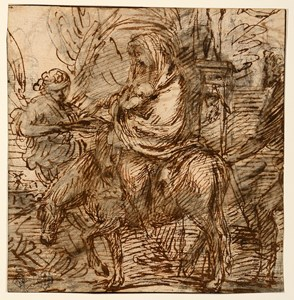 The Flight into Egypt [recto]; Study of a Seated Male Nude and a Sketch of the Forelegs of a Horse or Donkey [verso]