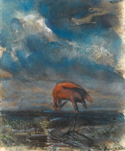 A Red Stork in a Landscape