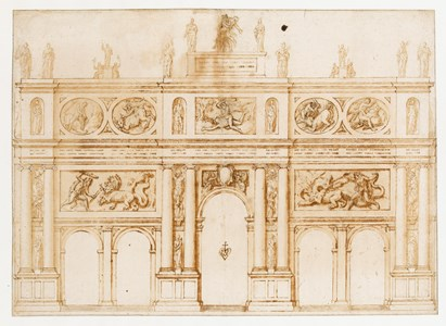 A Design for a Facade of a Triumphal Arch or Temporary Structure, Decorated with Reliefs of the Labours of Hercules, Statues and Trophies