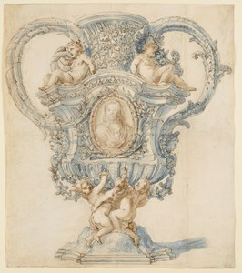 An Elaborate Vase or Urn, with Putti Surrounding an Image of the Virgin in an Oval Cartouche