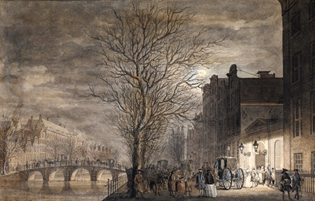 A View of the Keizersgracht in Amsterdam, with Figures Leaving the Stadsschouwburg Theatre