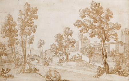 A Tuscan Landscape with Figures by a River
