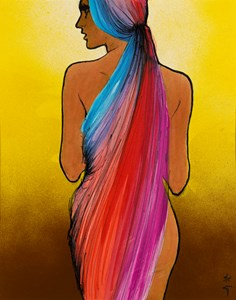 Woman with a Long Head Scarf: Design for the Cover of International Textiles Magazine (July 1971)