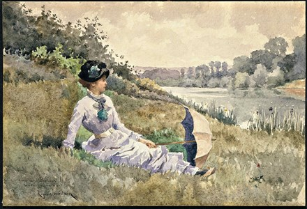 A Young Woman Seated on a Riverbank