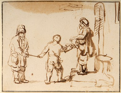 A Man Giving Money to a Beggar