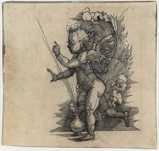 A Putto Beside a Flaming Urn [recto]; Four Studies of Men's Heads [verso]
