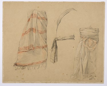 Recto: Three Studies of Drapery [recto]; Three Studies of a Standing Male Nude [verso]