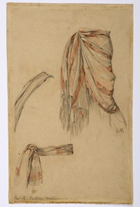 Three Studies of Drapery for The Contrary Oracle [recto]; Three Studies of a Standing Male Nude [verso]