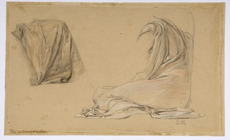 Two Studies of Drapery for The Contrary Oracle [recto]; Study of a Striding Male Nude [verso]