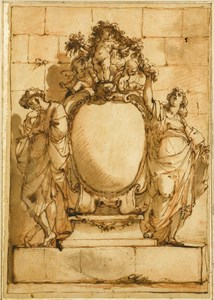 Design for a Monument or Frontispiece, with a Male and Female Figure Flanking a Cartouche, Three Putti Holding a Garland Above